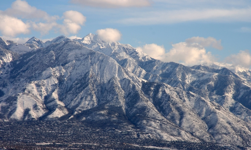 Salt Lake City Utah Winter Wasatch Mountains