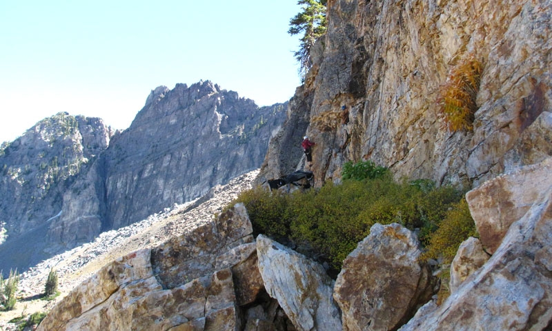 Climbing in Albion Basin near Alta