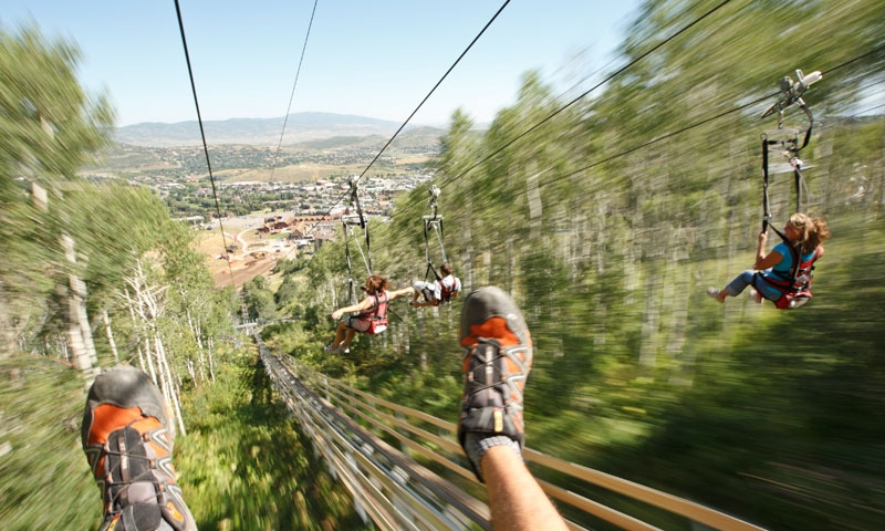 Riding the Zipline at Park City Mountain Resort in Utah